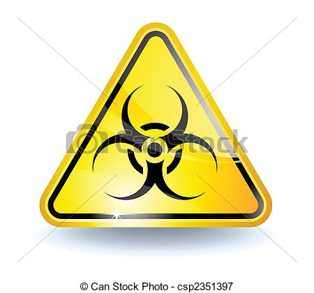 450x420 Biohazard Sign With Glossy Yellow Surface.