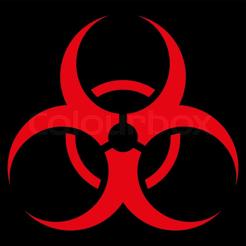 800x800 Biohazard Symbol Vector Icon. Style Is Flat Symbol, Red Color