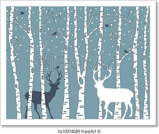 560x470 Free Art Print Of Birch Trees With Deer, Vector . Birch Trees With