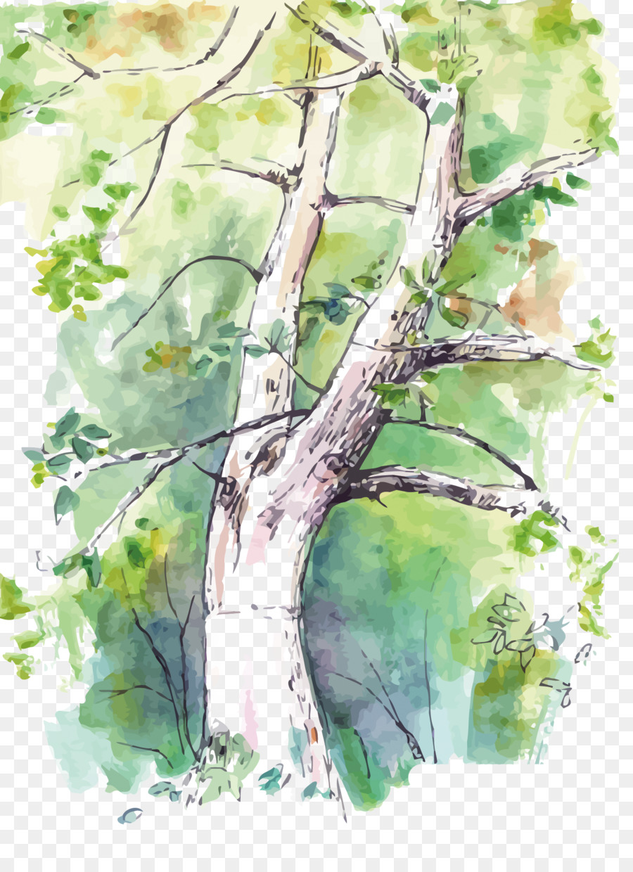 900x1240 Watercolor Painting Birch Twig Tree