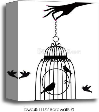 342x390 Canvas Print Of Hand With Birdcage, Vector Barewalls Posters