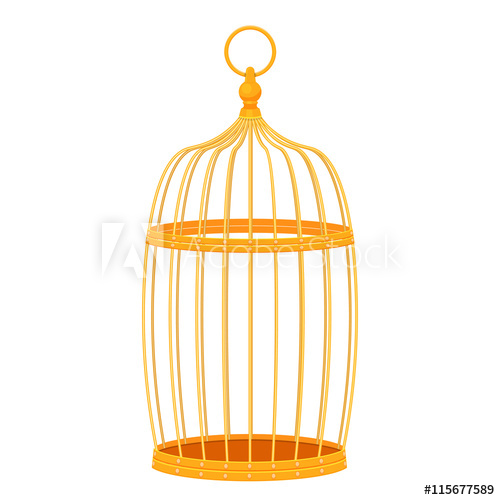 500x500 Decorative Golden Bird Cage Vector Illustration Isolated On White