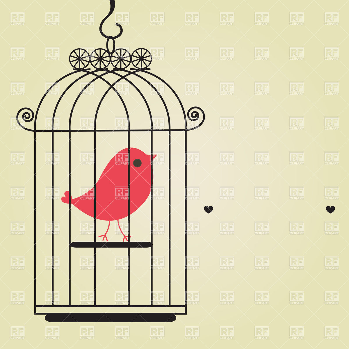 1200x1200 Red Canary Bird In Birdcage Vector Image Vector Artwork Of
