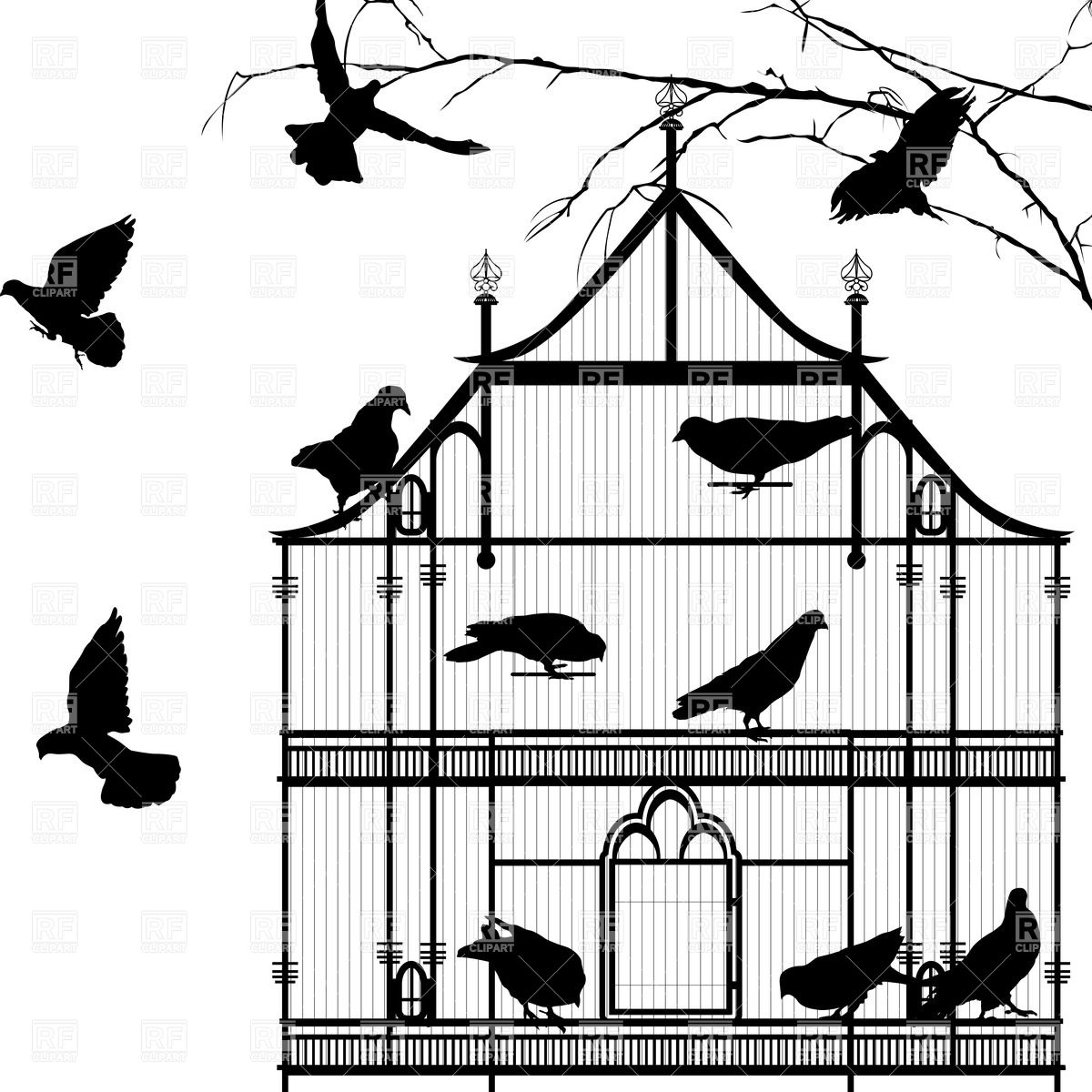 1200x1200 Silhouettes Of Birds And Birdcage Vector Image Vector Artwork Of