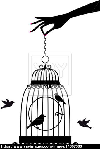 342x512 Hand With Birdcage, Vector Vector