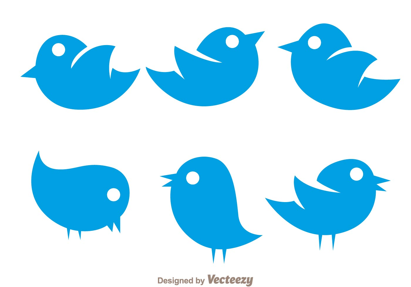 1400x980 Vector Simple Twiter Bird Icons