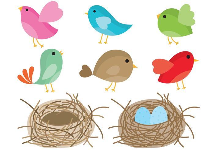 700x490 Birds In Nest Vector