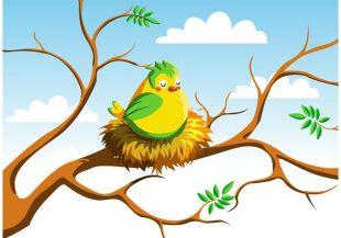 310x217 Birds In Nest Vector Free Vectors Ui Download