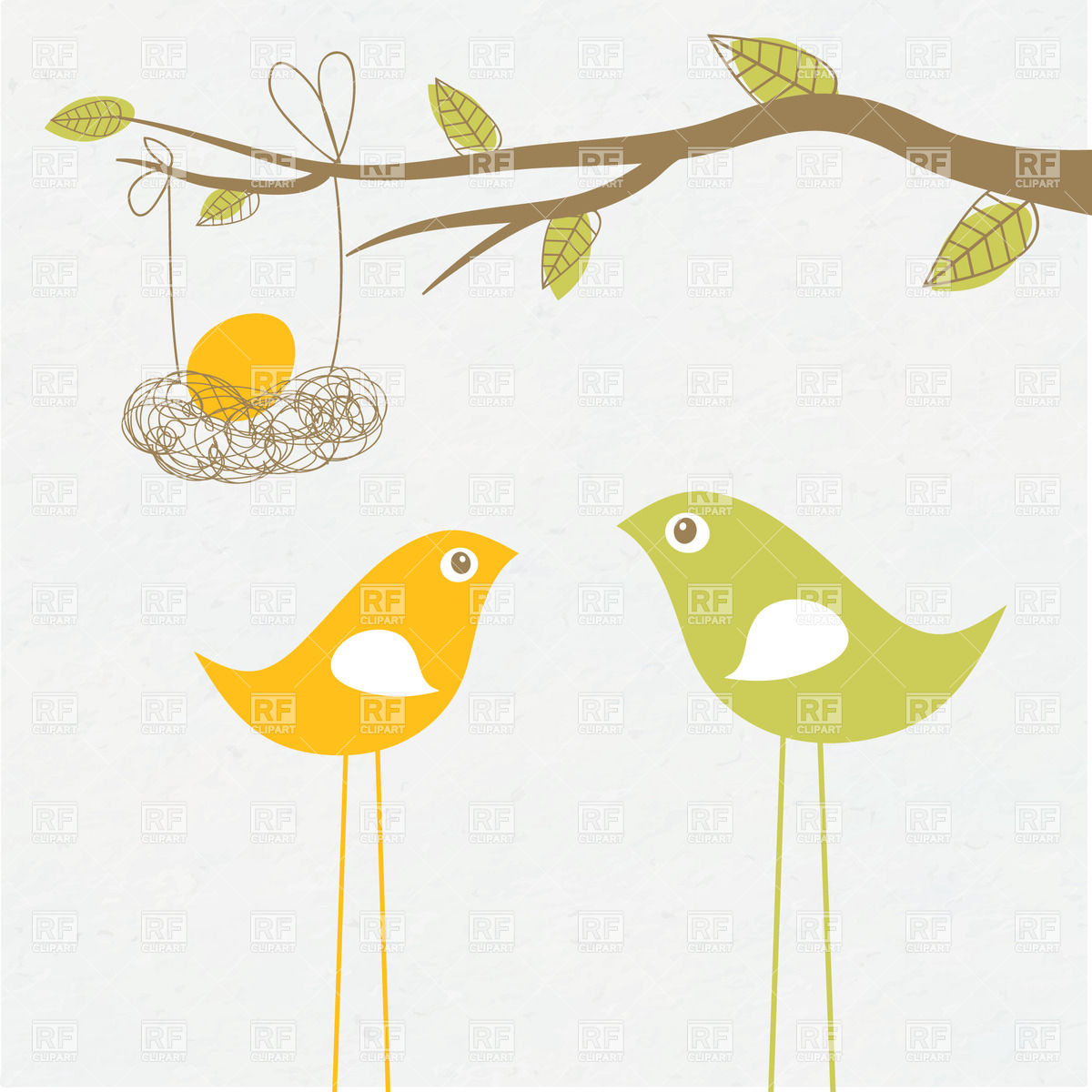 1200x1200 Birds Family With Egg In The Nest Vector Image Vector Artwork Of