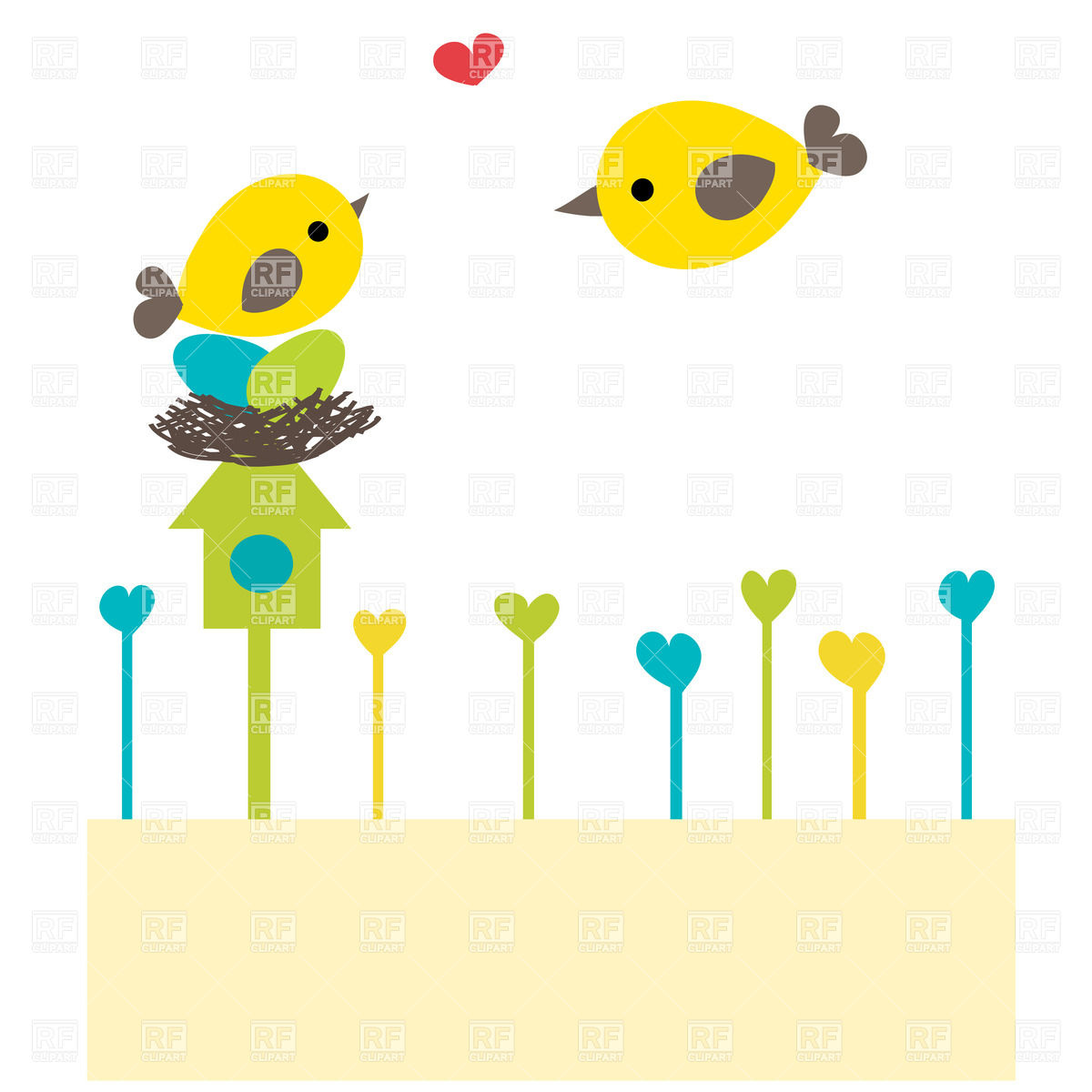 1200x1200 Cartoon Bird Family On Nest Vector Image Vector Artwork Of