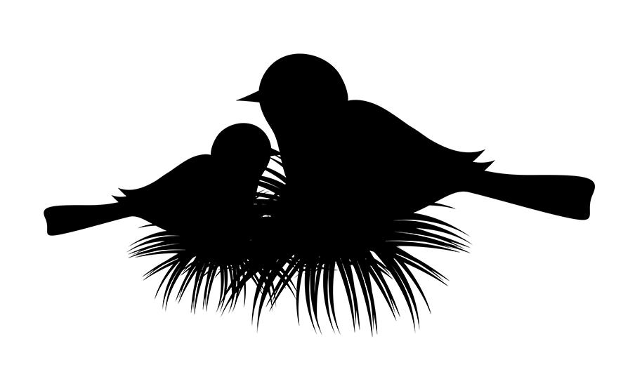 914x550 Download Free Bird Nest Silhouette Vector Illustration