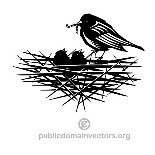 500x500 Bird In A Nest Vector Illustration Public Domain Vectors