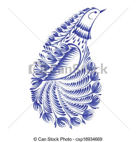 450x470 Decorative Ornament Paisley Bird Of Paradise. Hand Drawn