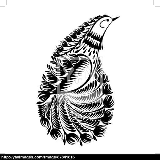 512x512 Decorative Silhouette Paisley Bird Of Paradise Vector