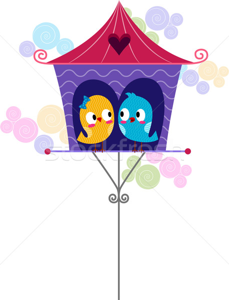 458x600 Lovebirds In A Birdhouse Vector Illustration Lenm ( 655511
