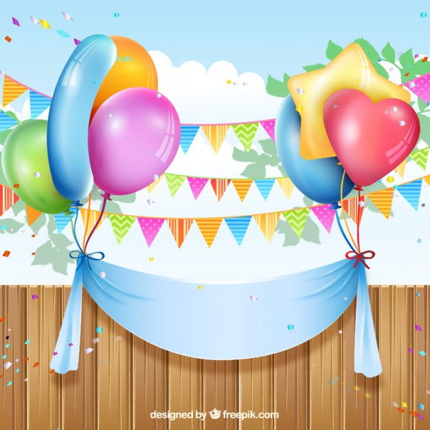 626x626 Birthday Banner With Balloons And Buntings Vector Free Download