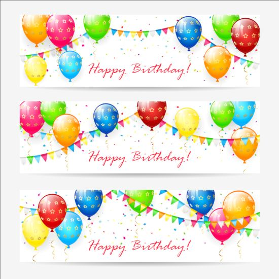 550x550 Birthday Banner With Balloons And Confetti Vector Free Download