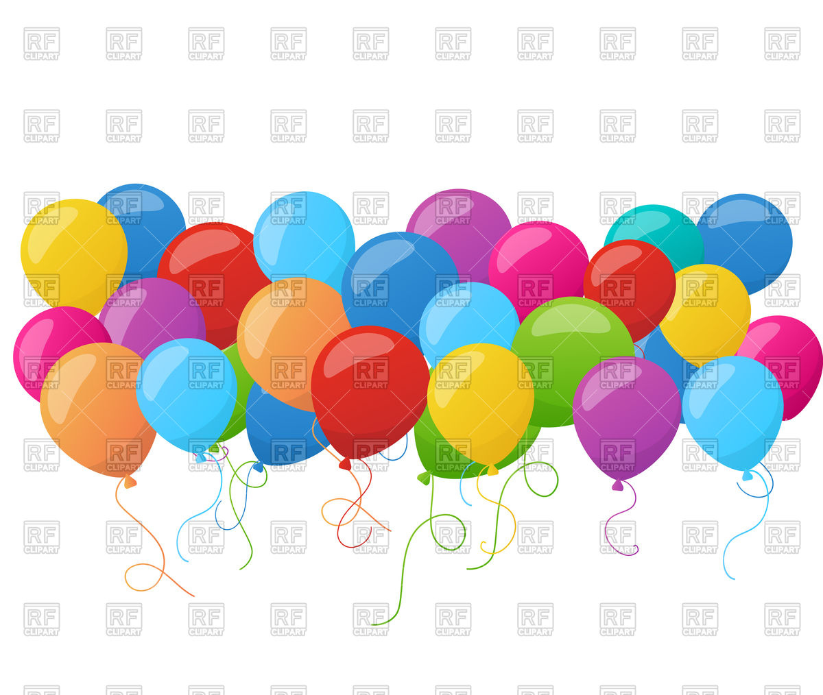 1200x1014 Birthday Banner With Colorful Balloons Vector Image Vector