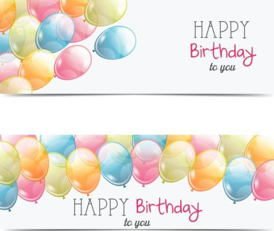 539x453 Birthday Banner With Transparent Balloon Vector Free Download