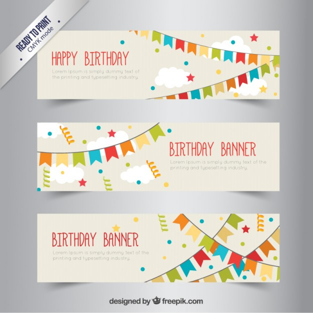626x626 Birthday Banners With Bunting Vector Free Download