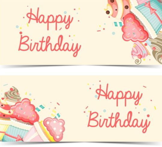 539x490 Cupcake With Happy Birthday Banner Vector 02 Free Download