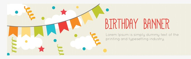 650x202 Cute Birthday Banner Vector, Birthday Vector, Banner Vector