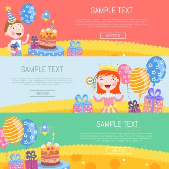 590x590 Happy Birthday Banners Vector Illustration Best Design