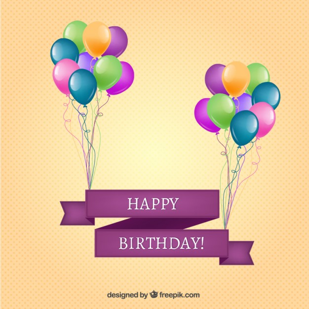 626x626 Happy Birthday Banner With Balloons Vector Free Download