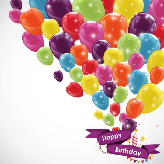 539x539 Ribbon Birthday Banner With Colorful Balloons Vector 02 Free Download