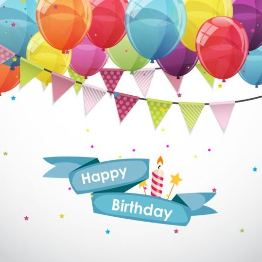 539x539 Ribbon Birthday Banner With Colorful Balloons Vector 03 Free Download