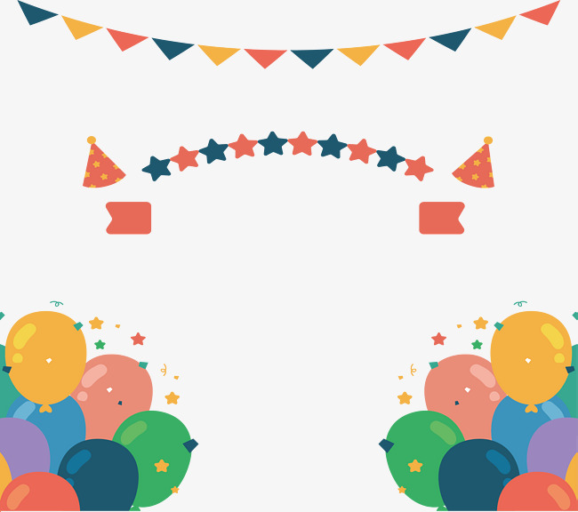 650x576 Birthday Party Decorative Balloon Banner, Vector Png, Triangular