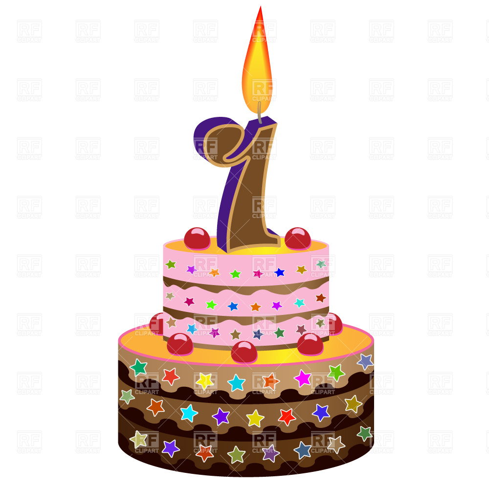 1000x1000 Birthday Cake With Candle Vector Image Vector Artwork Of Food