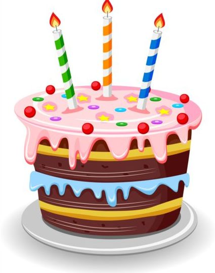 425x539 Delicious Birthday Cake With Candle Vectors 05 Free Download