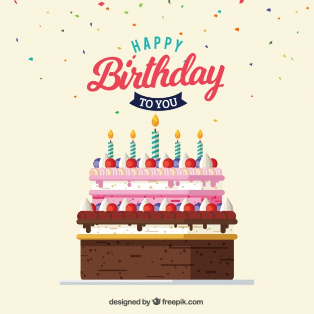 626x626 Greeting Card Of Delicious Birthday Cake Vector Free Download