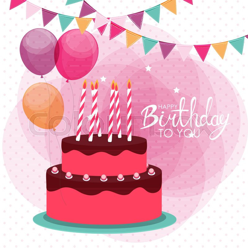 800x800 Happy Birthday Poster Background With Cake. Vector Illustration