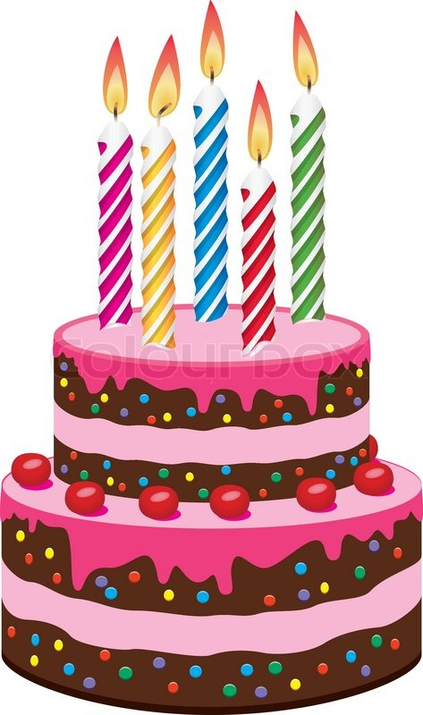 473x800 Vector Birthday Cake With Burning Candles Stock Vector Colourbox