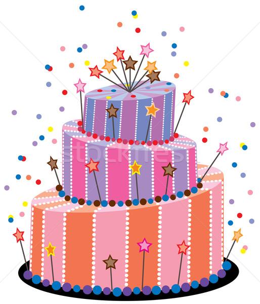 514x600 Vector Big Birthday Cake Vector Illustration Dmitry Merkushin