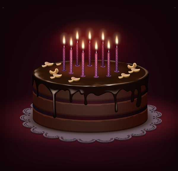 600x576 Chocolate Birthday Cake Vector Material