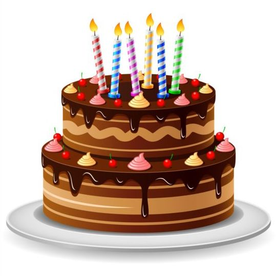 539x539 Delicious Birthday Cake With Candle Vectors 04 Free Download