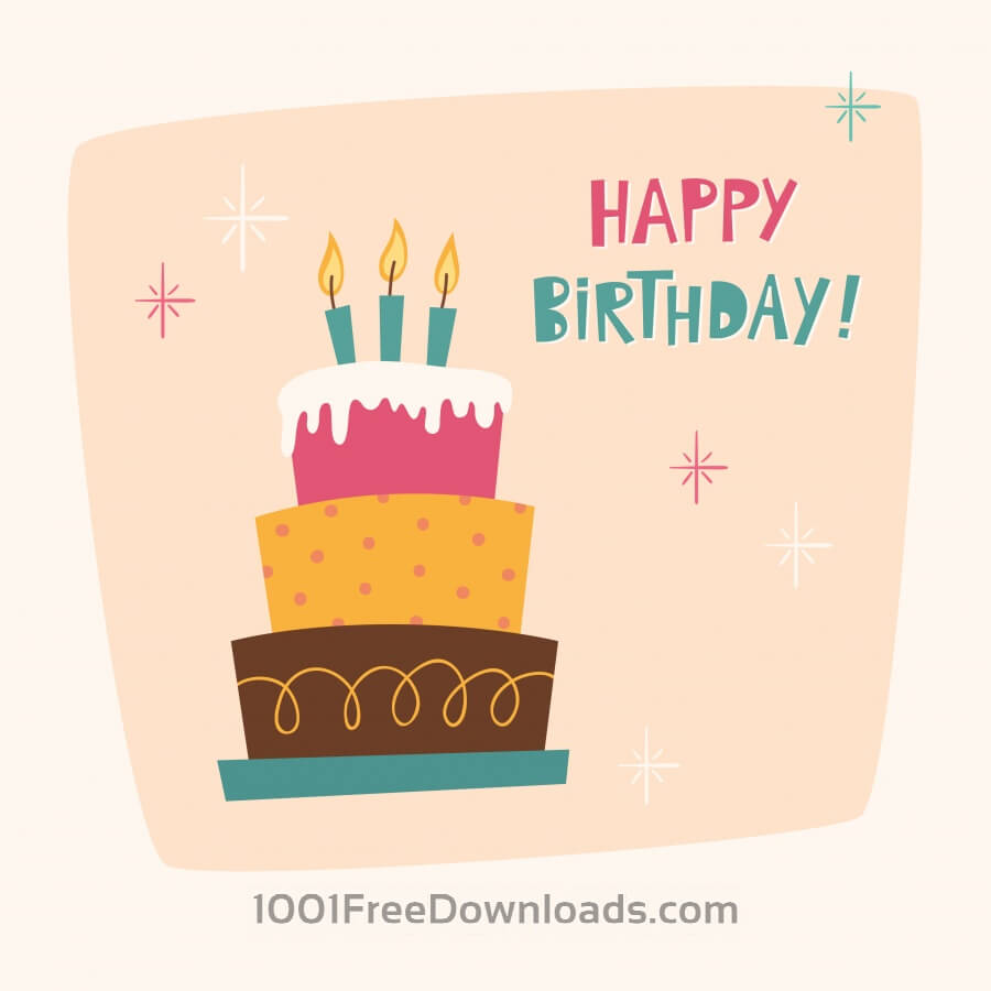 900x900 Free Vectors Happy Birthday Card With Cake Abstract