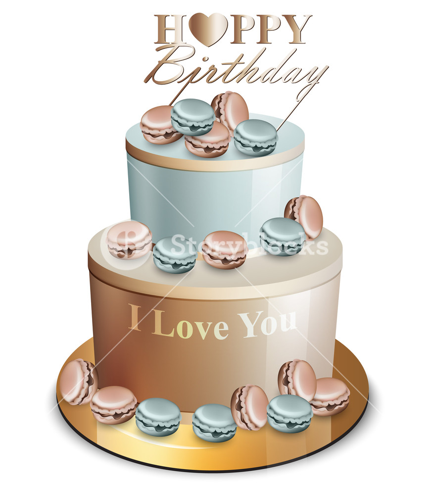 867x1000 Happy Birthday Cake Vector Realistic. Blue And Golden Royalty Free