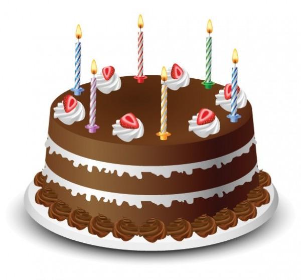 600x558 Tasty Birthday Cake Vector Illustration