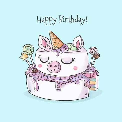 490x490 Watercolor Unicorn Birthday Cake Vector