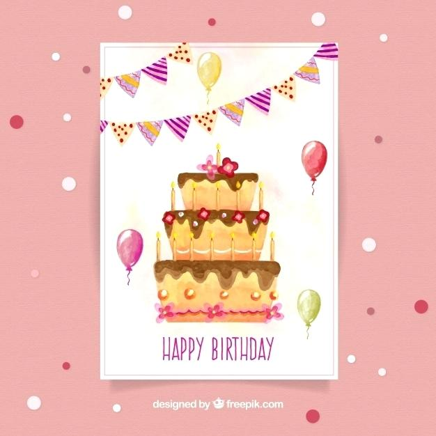 626x626 Watercolour Cake Vector And Watercolour Birthday Card With A Cake