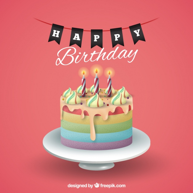 626x626 Birthday Background With Cake Vector Free Download