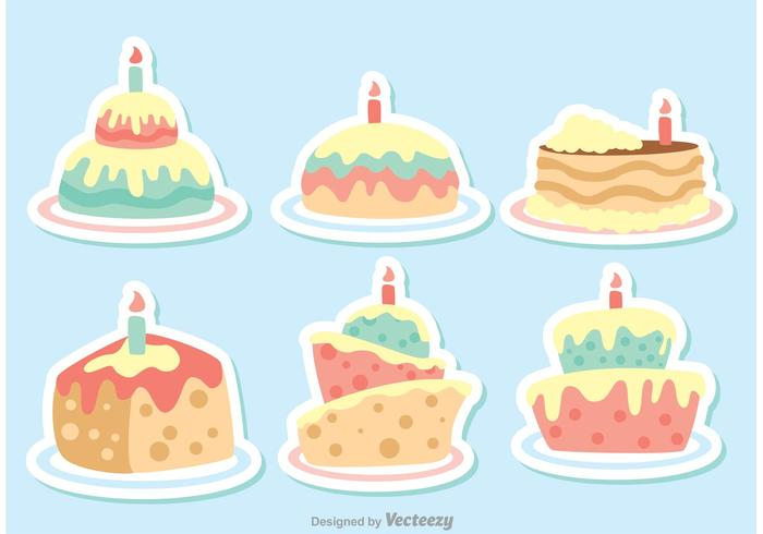 700x490 Colorful Vector Cartoon Birthday Cake Vectors Pack