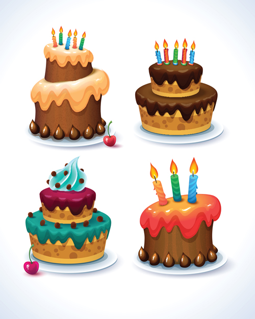 500x625 Delicious Birthday Cake Creative Vector 02 Free Download