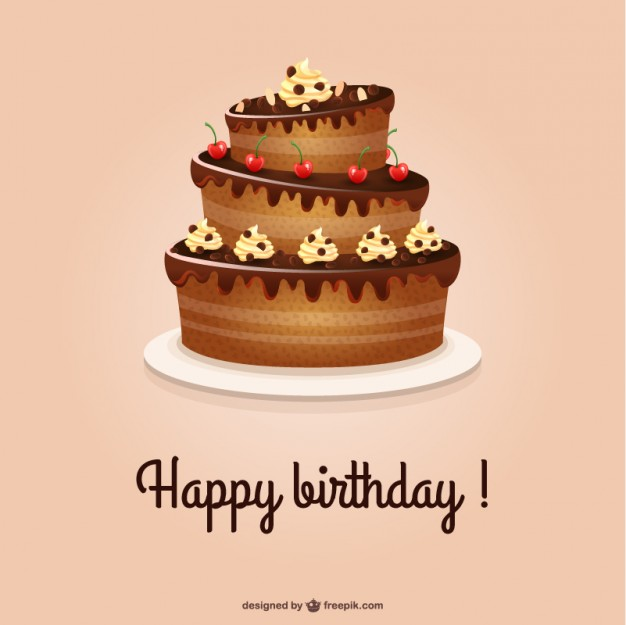 626x625 Happy Birthday Card With Cake Vector Free Download In Ai