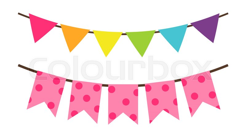 800x448 Colorful Birthday Flags Decoration For Party Vector Illustration