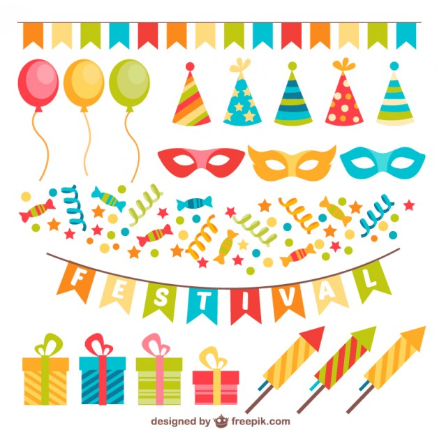 626x626 Colorful Decoration For Party Vector Premium Download